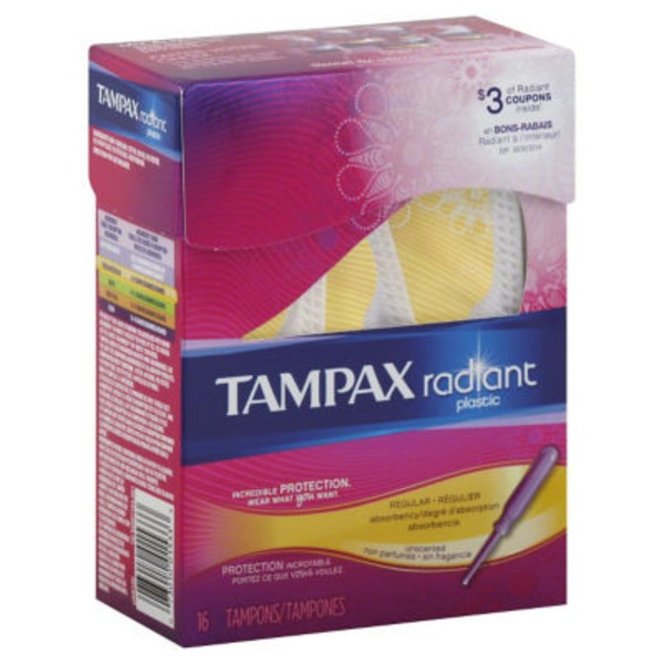 Tampax Radiant Tampax Radiant Plastic Regular Absorbency Tampons 16 Count Feminine Care