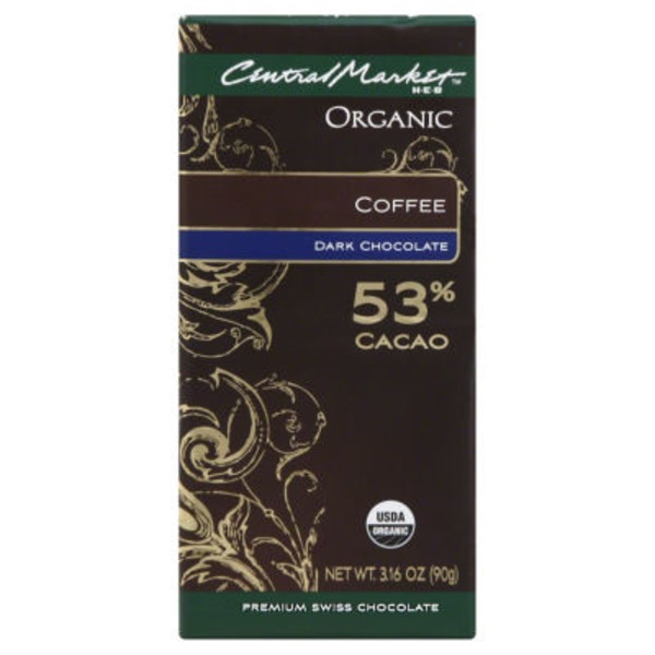 H-E-B Central Market Organic Dark Chocolate Coffee Swiss Chocolate 53% Bar