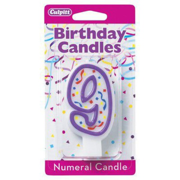Culpitt Candles Candle Numeral 9 Purple