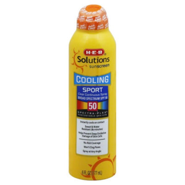 H-E-B Solutions Cooling Sport Broad Spectrum Sunscreen Spray Spf 50