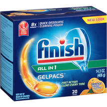 Finish Gelpacs Dishwasher Detergent Orange Scent