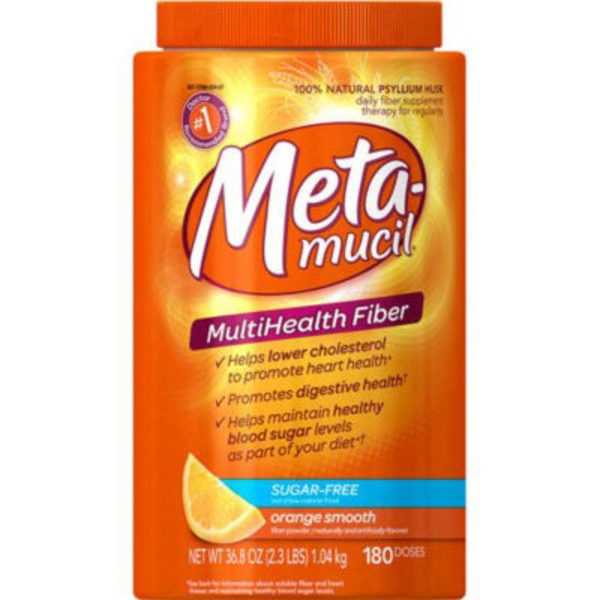 Metamucil Fiber Supplement by Meta Orange Smooth Sugar Free Powder Laxative