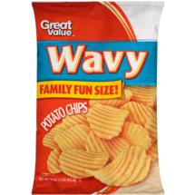 Great Value Wavy Potato Chips Family Fun Size