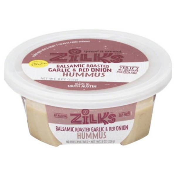 Zilks Hummus, Balsamic Roasted Garlic & Red Onion