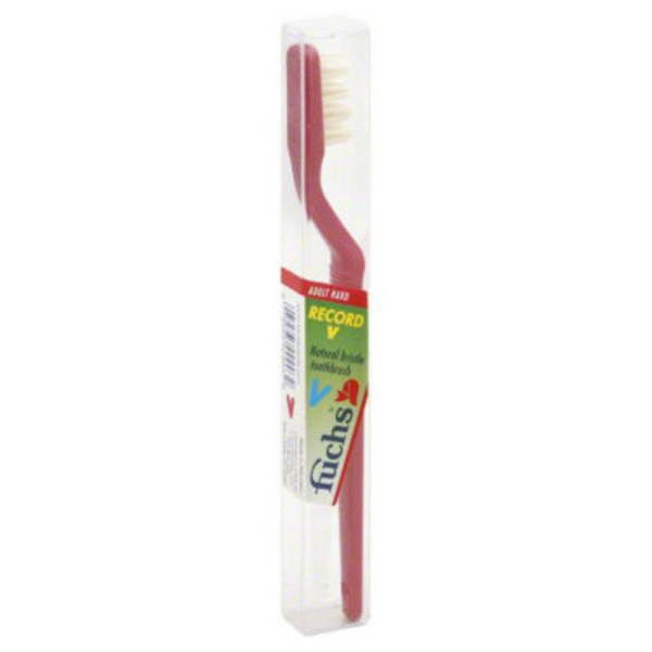 Fuch's Record V Natural Bristles Toothbrush, Adult Hard