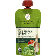 Peter Rabbit Organics Pea Spinach and Apple 100% Veg and Fruit Puree Baby Food
