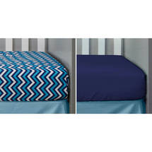 Bananafish Studio Anchors Away Set of 2 Crib Sheets Zigzag/Navy Solid