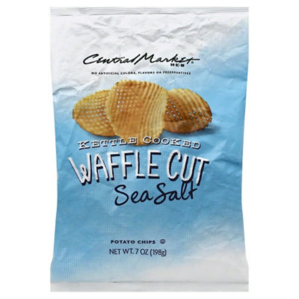Central Market Sea Salt Waffle Cut Kettle Cooked Potato Chips