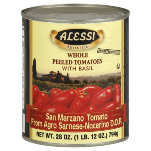 Alessi Whole Peeled San Marzano Tomatoes with Basil