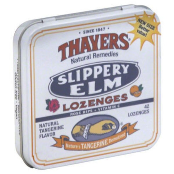 Thayers Rose Hips Tangerine Slippery Elm Lozenges