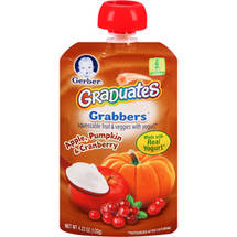 Gerber Graduates Grabbers Apple Pumpkin & Cranberry Squeezable Fruit & Veggies with Yogurt