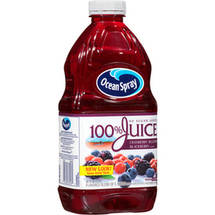 Ocean Spray No Sugar Added Cranberry Blueberry Blackberry 100% Juice