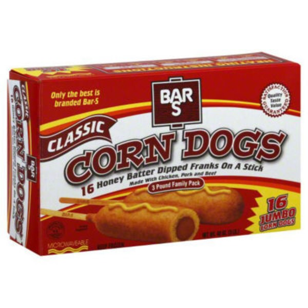 Bar S Corn Dogs, Classic, Jumbo, 3 Pound Family Pack