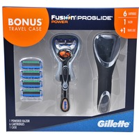 Gillette Fusion Proglide Power Razor +6 Carts W/Travel Case