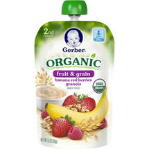 Gerber 2nd Foods Organic Fruit ; Grain Banana Red Berries Granola Baby Food