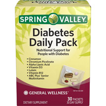 Spring Valley Diabetes Daily Pack Dietary Supplement Packets
