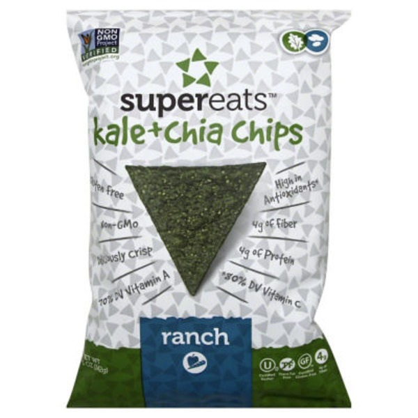 Supereats Chips, Kale + Chia, Ranch