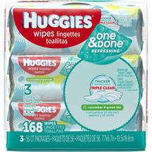 Huggies One & Done Refreshing Cucumber & Green Tea Baby Wipes (Pack of 3)