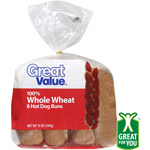 Great Value 100% Whole Wheat Hot Dog Buns