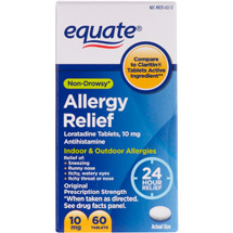 Equate Loratadine Tablets 10Mg Antihistamine Non-Drowsy 24 Hour Allergy Relief