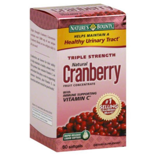 Nature's Bounty Triple Strength Cranberry 25,200mg with Vitamin C Softgels - 60 CT