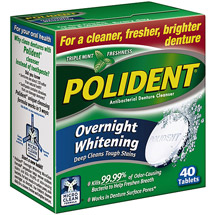 Polident Triple-Mint Antibacterial Denture Cleanser with Overnight Whitening