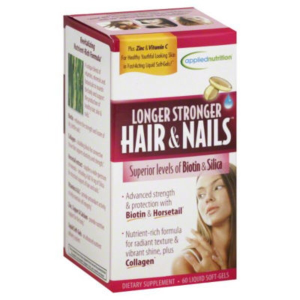 Applied Nutrition Longer Stronger Hair & Nails Dietary Supplement Liquid Soft-Gels - 60 CT