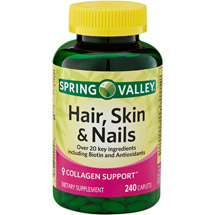 Spring Valley Hair Skin & Nails Plus Biotin Dietary Supplement Caplets