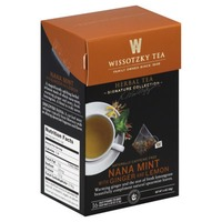 Wissotzky Tea Herbal Tea, Nana Mint with Ginger and Lemon, Caffeine Free, Bags