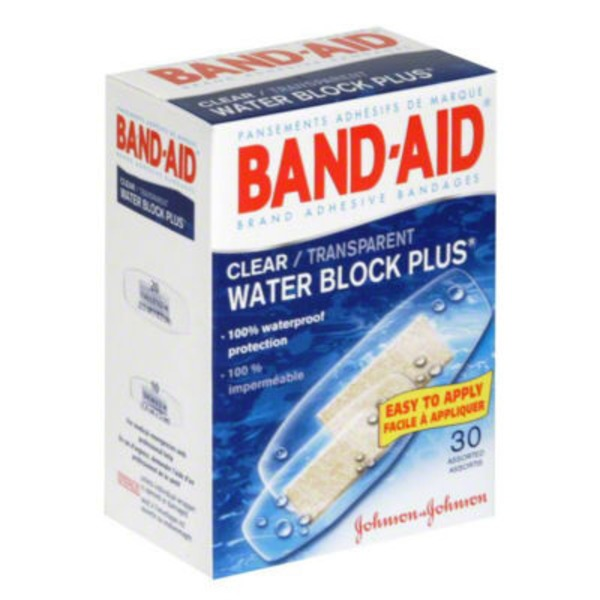 Band Aid® Brand Adhesive Bandages Clear Assorted Water Block Plus®