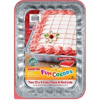 Handi-Foil Fun Colors Cake Pans With Red Lids, 13