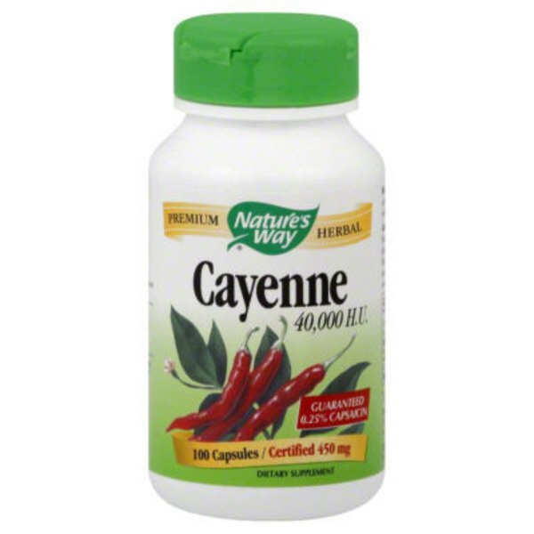 Nature's Way Cayenne 40,000 H.U. 450mg Capsules - 100 CT