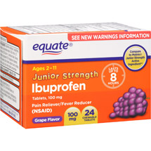 Equate Junior Strength Chewable Grape Flavor Pain Reliever/Fever Reducer 100mg