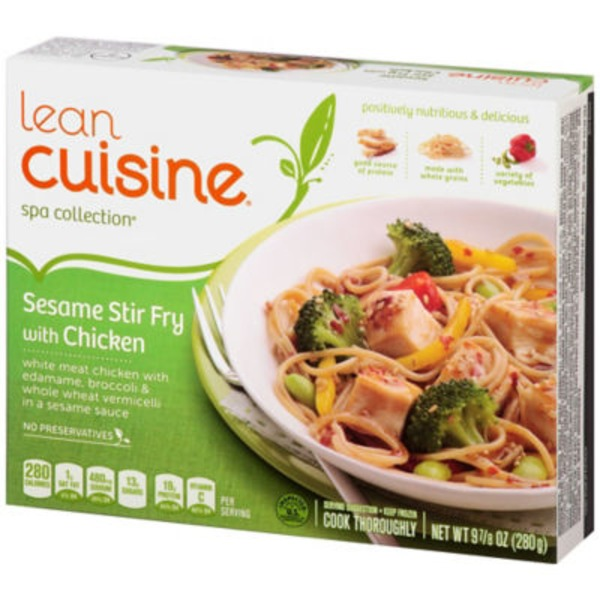 Lean Cuisine Marketplace White meat chicken with edamame, broccoli & whole wheat vermicelli in a sesame sauce Sesame Stir Fry with Chicken