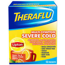 Theraflu Multi-Symptom Severe Cold Green Tea & Honey Lemon Flavors Lipton Tea