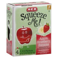 H-E-B Squeeze Me! Apple, Strawberry, Banana Real Fruit Pouches