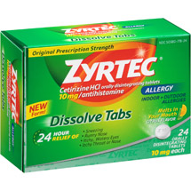 Zyrtec Allergy Relief Citrus Flavor Dissolve Tabs Tablets