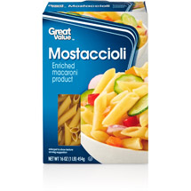 Great Value: Mostaccioli Pasta