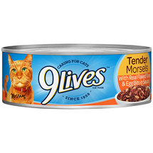 9Lives Tender Morsels with Real Flaked Tuna & Egg Bits in Sauce Wet Cat Food 5.5-Ounce Can (Pack of 24)