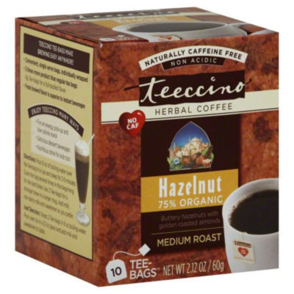Teeccino 75% Organic Medium Roast Caffeine-Free Hazelnut-Flavored Chicory Herbal Tea