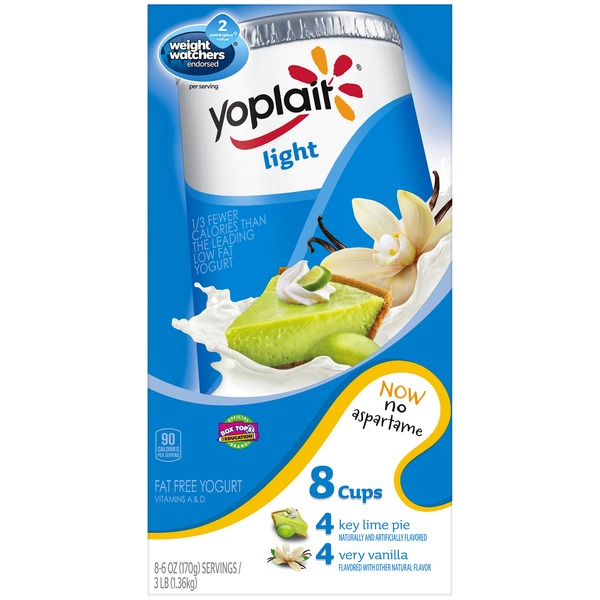 Yoplait Light Key Lime Pie/Very Vanilla Variety Pack Fat Free Yogurt