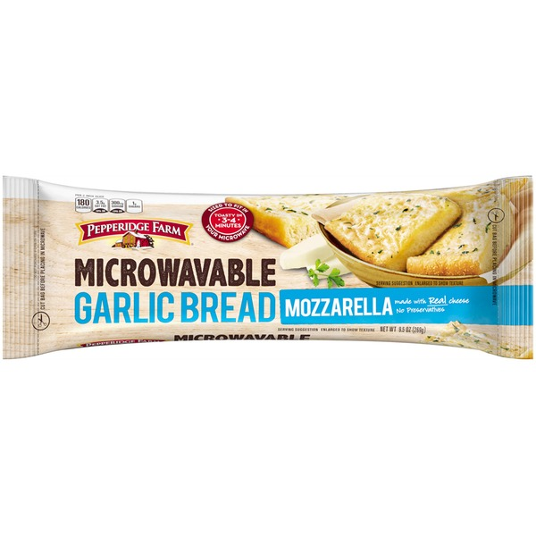 Pepperidge Farm Frozen Bakery Microwavable Mozzarella Garlic Bread