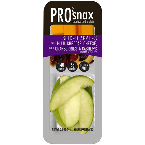 Pro2snax Sliced Apples with Mild Cheddar Cheese Dried Cranberries & Roasted & Salted Cashews Produce & Protein Snack
