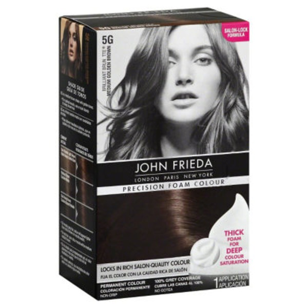 John Frieda Hair Color Brilliant Brunette Medium Golden Brown 5G Precision Foam Colour