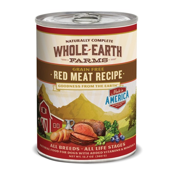 Whole Earth Farms Grain Free Red Meat Recipe All Breeds All Life Stages Natural Food for Dogs with Added Vitamins & Minerals