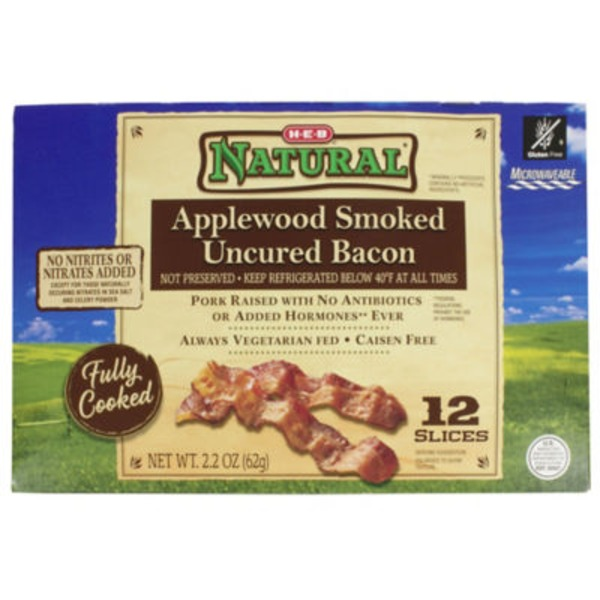 H-E-B Natural Fully Cooked Applewood Smoked Uncured Bacon
