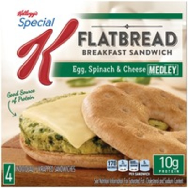 Kellogg's Special K Flatbread Egg Spinach & Cheese Medley Breakfast Sandwiches