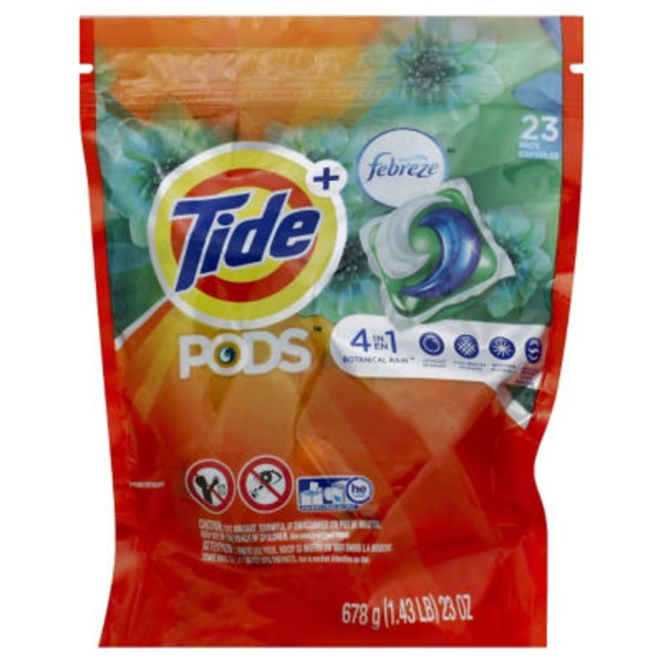 Tide PODS Plus Febreze Odor Defense Laundry Detergent Pacs, Botanical Rain Scent, 23 count, Designed For Regular and HE Washers Laundry