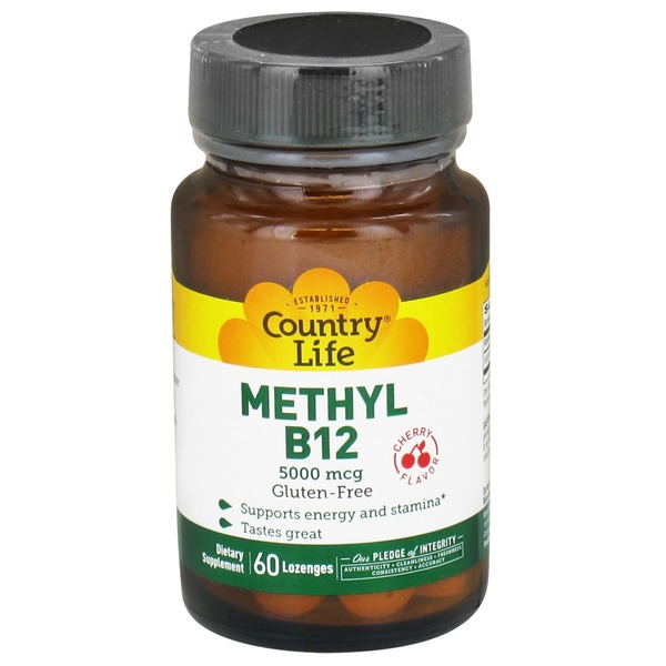 Country Life Gluten Free Cherry Flavor Methyl B12 Lozenges