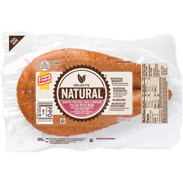 Oscar Mayer Sausage Selects Natural Italian Herb Uncured Cooked Sausage